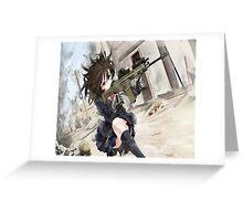 Anime girl with gun Greeting Card