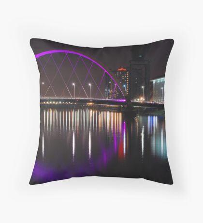 Glasgow Night Time Scene Throw Pillow