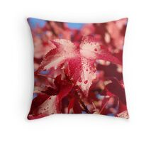 Raindrops RED Autumn Leaves Art Prints Gifts Throw Pillow