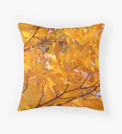 Golden Orange Autumn Leaves Tree Art Prints Throw Pillow