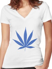 Blue Pot Leaf Women's Fitted V-Neck T-Shirt