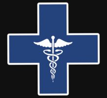 Blue Medical Caduceus Cross (b) by HighDesign