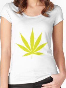 Yellow Pot Leaf Women's Fitted Scoop T-Shirt
