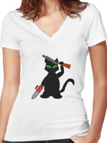 Kitty of Darkness Women's Fitted V-Neck T-Shirt