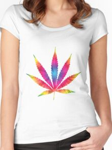 Rainbow Pot Leaf Women's Fitted Scoop T-Shirt