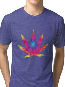 Rainbow Pot Leaf Tri-blend T-Shirt