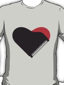 Piano Heart Love Design T-Shirt