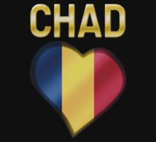 Chad - Chadian Flag Heart & Text - Metallic by graphix