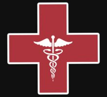 Red Medical Caduceus Cross (b) by HighDesign