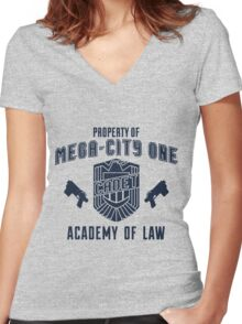 Mega-City 1 Academy shirt Women's Fitted V-Neck T-Shirt