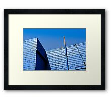 Blue On Blue. Wall And Pipe On Sky. Framed Print