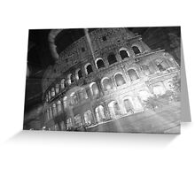 Ghosts Of The Colosseum BW Greeting Card