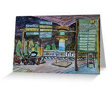 Watercolor Sketch - Hamburg Airport at Night Greeting Card