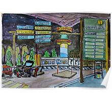 Watercolor Sketch - Hamburg Airport at Night Poster