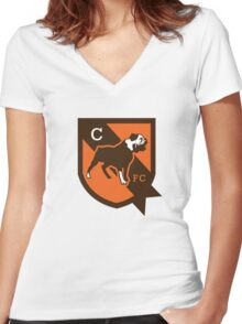 cleveland brown Women's Fitted V-Neck T-Shirt