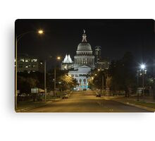 Austin Images - The Texas State Capitol at Night looking South Canvas Print