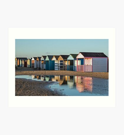 Winter beach huts Art Print