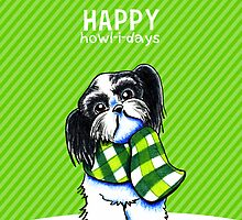 Black & White Shih Tzu Happy Howl-i-days by offleashart