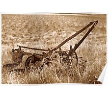 Sepia Antique Plow Abandoned in a Field Poster