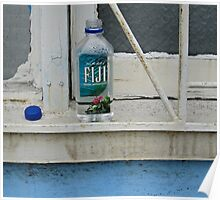 water bottle on windowsill Poster