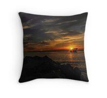 Sunken Ship Sunset Throw Pillow