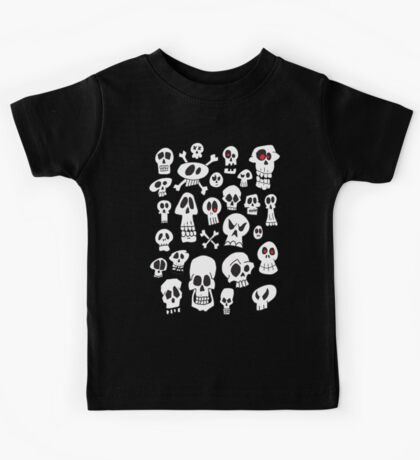Hand Drawn Skulls Kids Tee