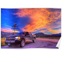 Silverado Sunset, outside Salida, Colorado Poster