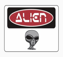 ALIEN, FUNNY DANGER STYLE FAKE SAFETY SIGN Kids Clothes