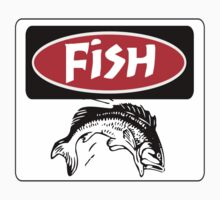 FISH, FUNNY DANGER STYLE FAKE SAFETY SIGN Kids Clothes