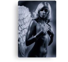 Beautiful nude woman with angel wings Black and white art photo print Canvas Print