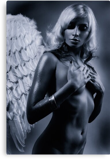 Beautiful nude woman with angel wings Black and white art photo print by ArtNudePhotos