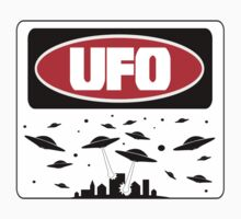 UFO, FUNNY DANGER STYLE FAKE SAFETY SIGN Kids Clothes