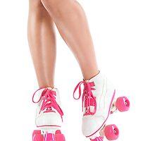 Sexy girl legs in white pink roller skates art photo print by ArtNudePhotos