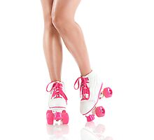 Sexy girl legs in white pink roller skates art photo print Photographic Print