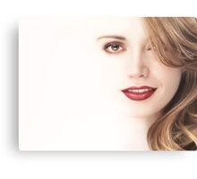 Beautiful young woman face blending into light background art photo print Canvas Print
