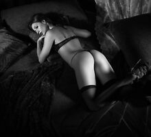 Beautiful Sexy Woman Lying on Bed Black and white art photo print by ArtNudePhotos