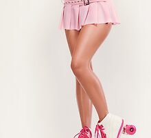 Sexy Girl Wearing Pink Roller Skates art photo print by ArtNudePhotos
