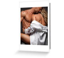 Woman Embracing a Muscular Man art photo print Greeting Card