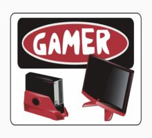 GAMER: GAME CONSOLE AND SCREEN, FUNNY DANGER STYLE FAKE SAFETY SIGN by DangerSigns