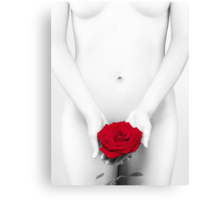 Black and white nude Woman with a Red Rose art photo print Canvas Print