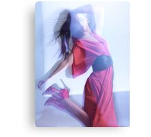 Fashion Photo of Woman in Red Dress Jumping in Blue Light art photo print Canvas Print