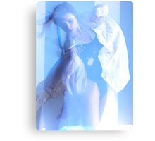 Fashion Photo of a Dancing Woman in Shining Blue Light art photo print Canvas Print