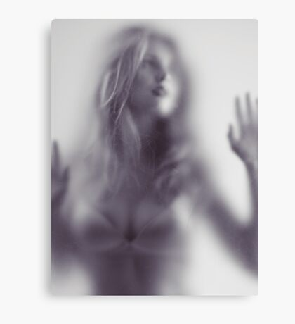 Abstract photo of young woman behind hazy glass art photo print Canvas Print