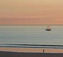 Broome - a lugger at sunset by Greta van der Rol