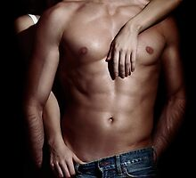 Woman behind sexy man with bare torso and jeans art photo print by ArtNudePhotos