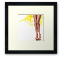 Sexy woman legs with yellow dress flying behind art photo print Framed Print