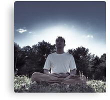 Man meditating in the nature during sunrise art photo print Canvas Print