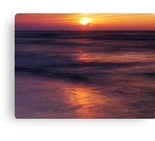 Sun setting down over Huron lake art photo print Canvas Print