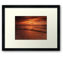 Dramatic red sky over lake Huron sunset scenery art photo print Framed Print
