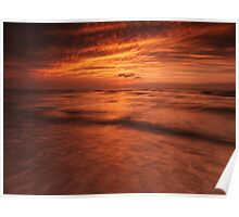 Dramatic red sky over lake Huron sunset scenery art photo print Poster